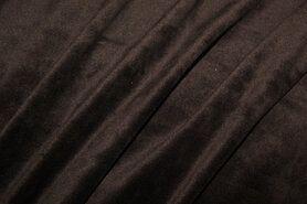 Fluweelachtige stof - NB 3081-055 Nicky velours donkerbruin