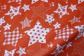 Zuiver oranje - NB 5649-036 Katoen fantasie sterren oranje