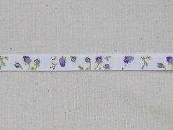 Band met hartjes - Ripslint bloemetjes off white paars/groen 9 mm (22383/09-183)*