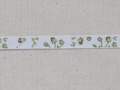 Band met hartjes - Ripslint bloemetjes off white beige/bruin/groen 9 mm (22383/09-988)*