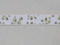 Band met hartjes - Ripslint bloemetjes off white beige/bruin/groen 16 mm (22383/16-988)*