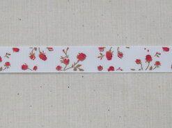 Band met hartjes - Ripslint bloemetjes off white rood/bruin 16 mm (22383/16-722)*
