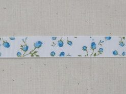 Band met hartjes - Ripslint bloemetjes off white blauw/groen 16 mm (22383/16-259)*