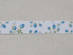 Band mit Herzchen - Ripsband Blümchen off white blau/grün 16 mm (22383/16-259)