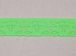 Band met bloem - Rekbaar kant 2.5 cm neon groen (2146-333)
