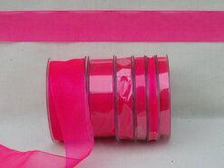Effen uni kleur band - Organza de luxe 38 mm fuchsia (14)