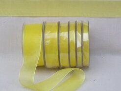 Effen uni kleur band - Organza de luxe 38 mm geel (15)