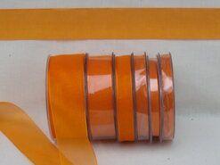 Effen uni kleur band - Organza de luxe 38 mm oranje (17)