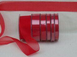 9 mm band - Organza de luxe 9 mm rood (26)