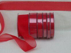 Effen uni kleur band - Organza de luxe 38 mm rood (26)