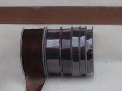 Effen uni kleur band - Organza de luxe 38 mm donkerbruin (32)