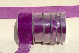 Effen uni kleur band - Organza de luxe 38 mm paars (35)