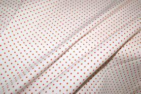 Oranje stoffen - NB 5579-036 Katoen stipjes wit/oranje