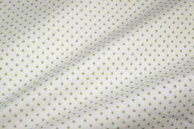 Boerenbont-Stoff - NB 5579-25 Punkte Baumwolle weiss/apfelgrün