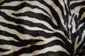 Carnavalsstoffen - NB 4510-52 Dierenprint zebra beige/donkerbruin