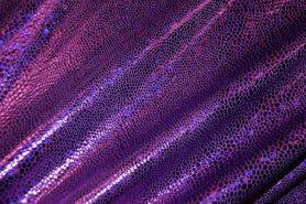 Kunstleer en suedine - NB 2213-045 Lamee (rekbaar) folie-achtig paars