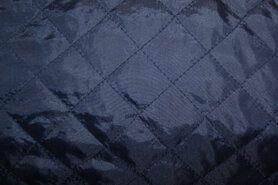 Doorgestikte stof - KN 0168-600 Gestepte voering donkerblauw