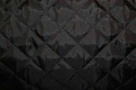 Doorgestikte stof - KN 0168-999 Gestepte voering zwart