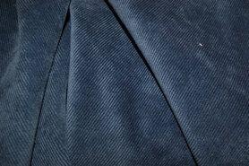 Meubelstoffen - NB 1576-006 Ribcord lichte stretch jeansblauw