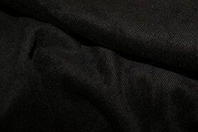 Ribcord en velvet - NB 1576-069 Ribcord lichte stretch zwart