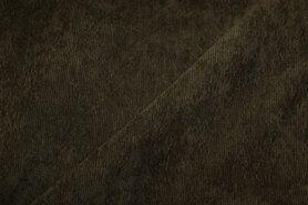 Ribcord en velvet - NB 1576-027 ribcord lichte stretch legergroen