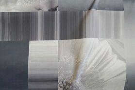 Gordijnstof per meter - Verduisteringsstof vlakken en bloemen grijstinten B194680-C-X op=op