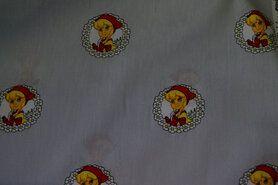 Roodkapje stoffen - Efteling katoen 7915-061 Roodkapje in bloemen cirkel grijs