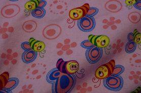 Flanell - Ptx16 947007-12 Flanell fröhliche Bienen rosa