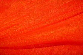Tule - 999751-197 Rekbare fijne tule fel oranje-rood