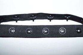 Ronde knopen - Drukknoopband zwart (12106)