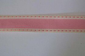 Band met streep - Sierband Vintage Stitch roze 25 mm (30036-04)*