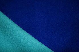 Fleece stoffen - NB18 9444-005 double fleece kobaltblauw/mint