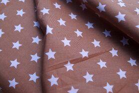 Bedrukt Katoen - NB 5571-053 Katoen ster beige