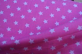 Bedrukt Katoen - NB 5571-011 Katoen ster roze