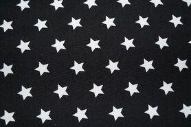 Bedrukt Katoen - NB 5571-069 Katoen ster zwart