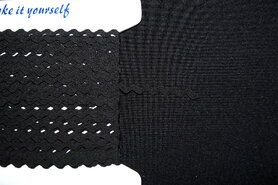 5 mm band - Zigzag band zwart