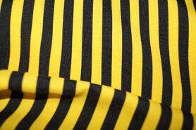 T-Shirt stoffen - Jo 3056 Texture gestreept smal geel/zwart