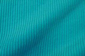 Ribcord en velvet - NB 3044-124 Brede ribcord turquoise-aqua