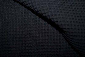 Waffelbaumwolle - KN 0267-999 Waffeltuch schwarz