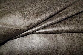 Taupe grijs - KN19 0541-215 stretch kunstleer taupe/groen