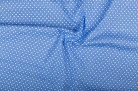 Boerenbont stoffen - NB 1264-002 Katoen kleine hartjes lichtblauw