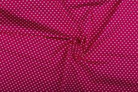 Roze stoffen - NB 1264-017 Katoen kleine hartjes fuchsia