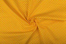 Boerenbont stoffen - NB 1264-035 Katoen kleine hartjes geel