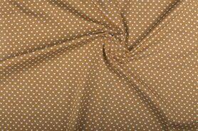 Boerenbont stoffen - NB 1264-053 Katoen kleine hartjes beige