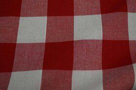 Gordijnstoffen - Katoen BB ruit 5 cm rood