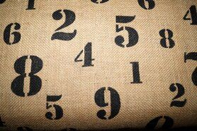 Stugge stoffen - Jute cijfers naturel/zwart