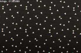 Gordijnstoffen - NB 1363-069 Interieurstof mini driehoekjes zwart