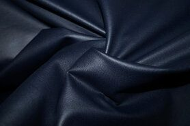 Legging stoffen - MR1005-008 Foil Bianca rekbaar kunstleer donkerblauw