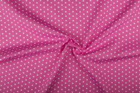 Boerenbont stoffen - NB 1266-011 Katoen kleine sterretjes roze