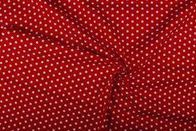 Boerenbont stoffen - NB 1266-015 Katoen sterretjes rood